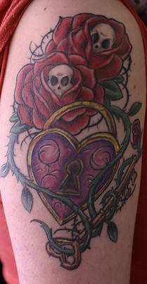Rose and thorns vine tattoo with heart lock and key for Rose with thorns tattoo