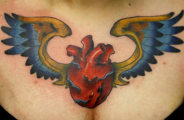 Tattoo of sacred heart and wings in ukrainian color