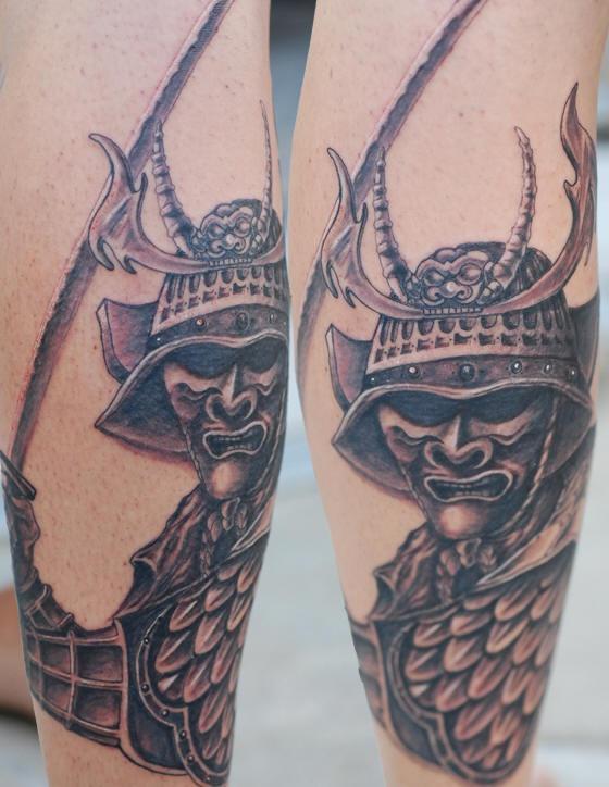 Samurai with dark eyes tattoo