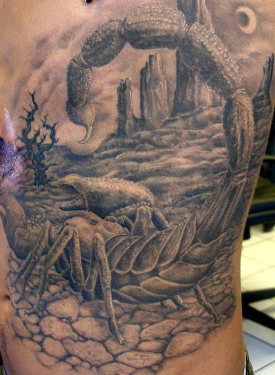 Amazing scorpion in desert tattoo