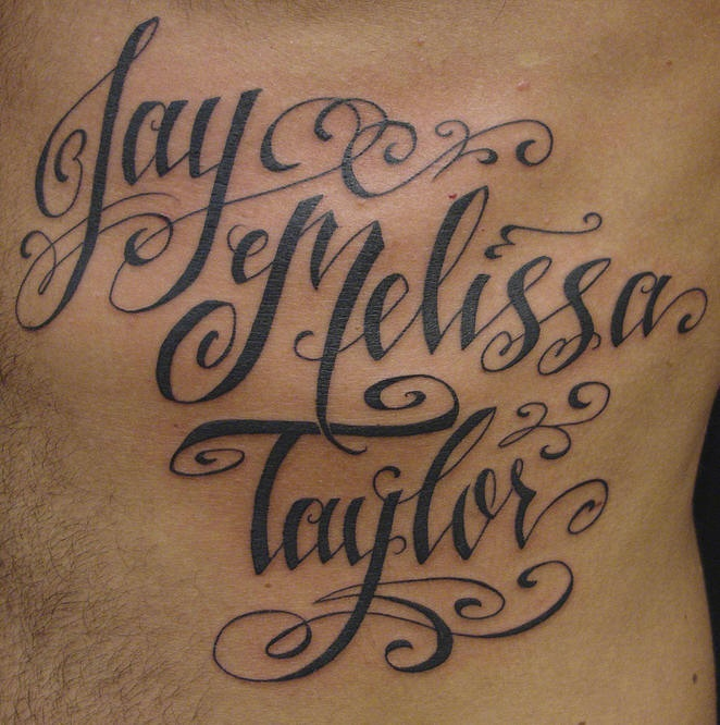Calligraphy Script Tattoo Of Kids Names