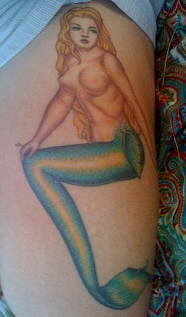 Sexy blonde naked mermaid tattoo