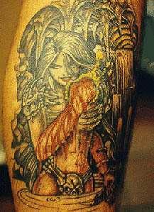 Sexy warrior girl tattoo
