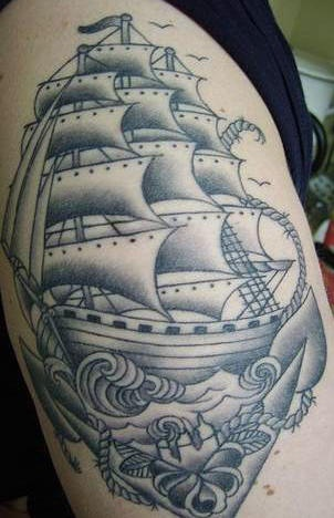 Highly detailed ship and anchor tattoo
