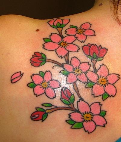 Tatuaggio colorato sulla spalla il ramoscello della sakura fiorito