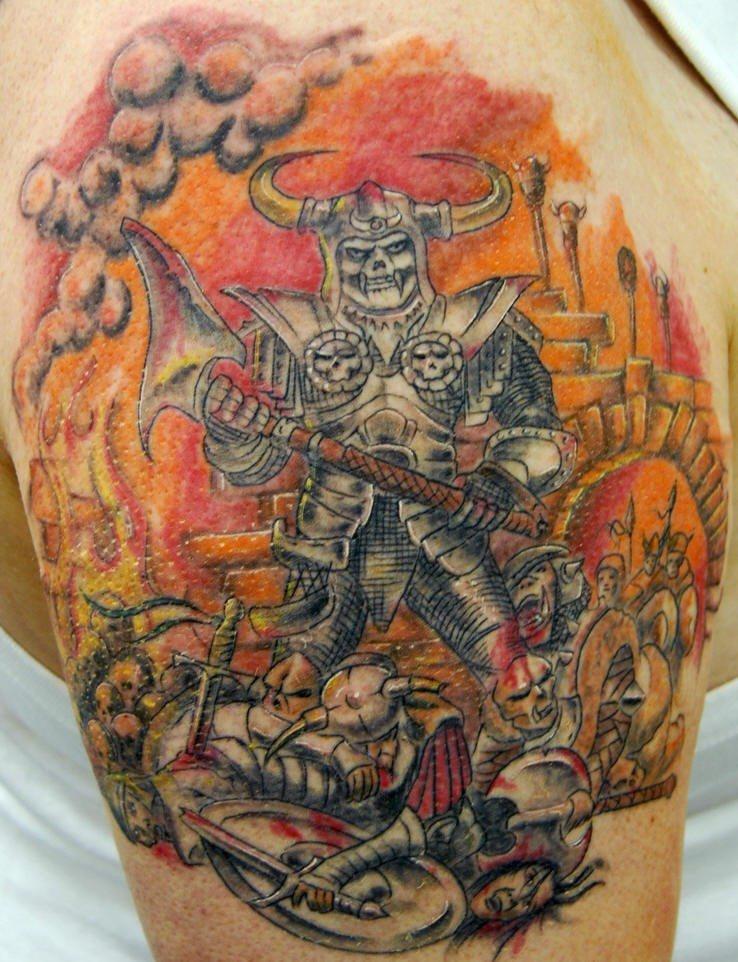 Skeleton warrior tattoo on the shoulder