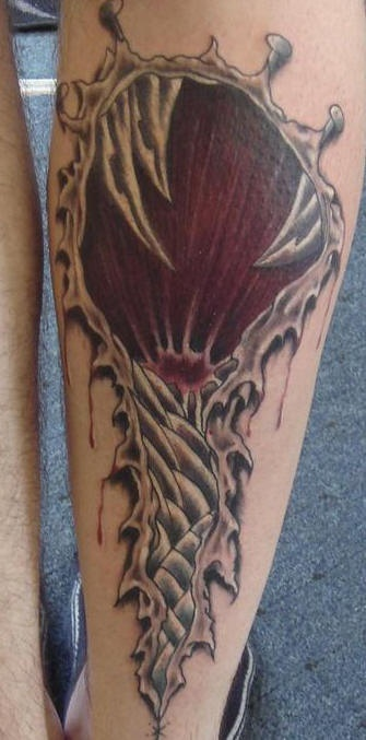 Leg tattoo, long  red skin rip
