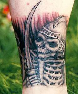 Skeleton warrior with sword tattoo
