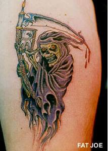Grim reaper with sand clock tattoo