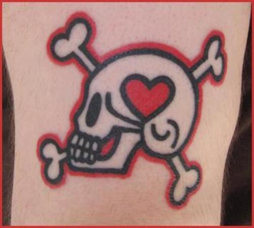Skull and crossbones heart tattoo
