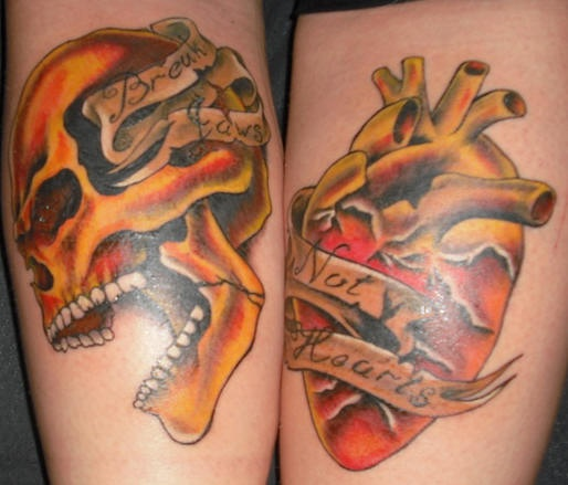 Skull and heart classic coloured  tattoo