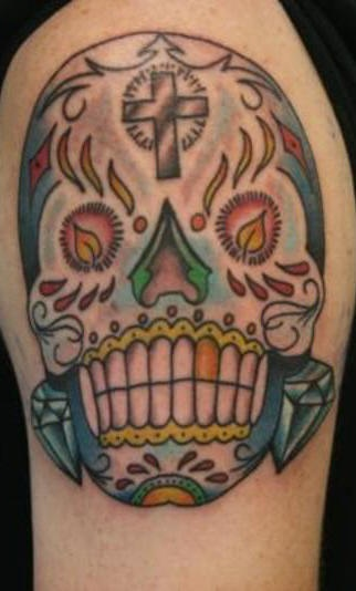 Skull shoulder tattoo, designed colourful, teethy skull