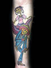 Sugar skeleton pair coloured tattoo