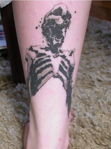 Crushed human skeleton tattoo