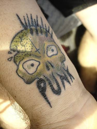 Small punk skull tattoo on wrist