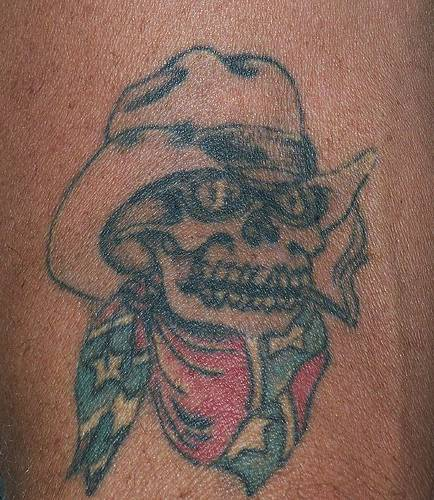 Confederate Skull in hat  tattoo