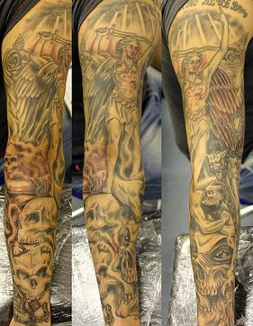 Heaven and hell sleeve tattoo