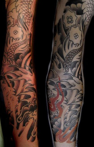 asian themed sleeve tattoo. Black Bedroom Furniture Sets. Home Design Ideas