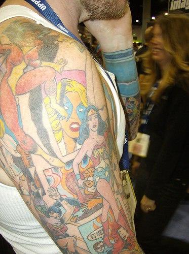 Pin up style full sleeve tattoo