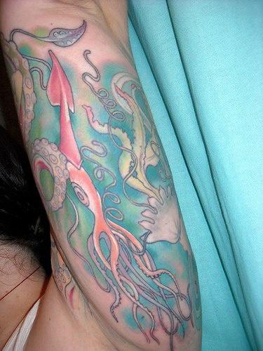 Deep sea creatures sleeve tattoo