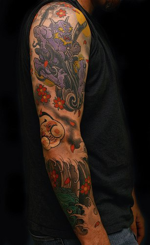 colourful asian themed sleeve tattoo with demon. Black Bedroom Furniture Sets. Home Design Ideas