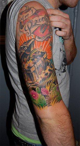 Colourful treasures sleeve tattoo