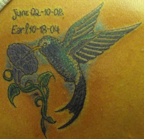 Small hummingbird memorial tattoo