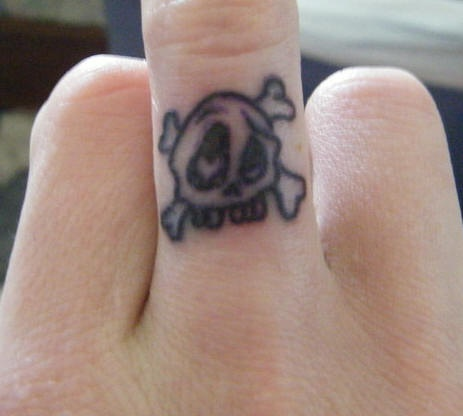 Skull in love tattoo on finger