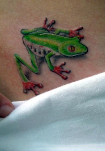 Small realistic green frog tattoo