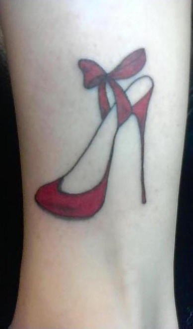 Red woman shoe tattoo