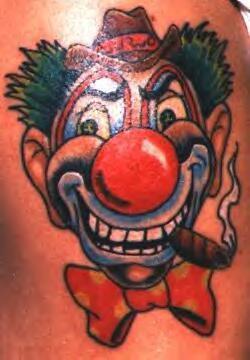 Bad smoking clown tattoo in colour