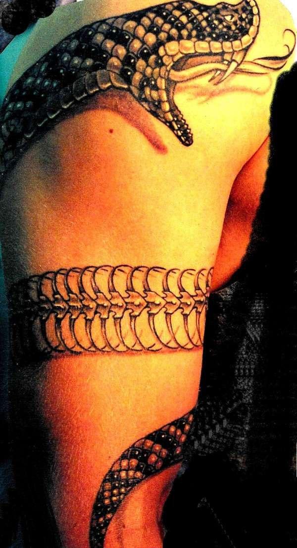 Tatuaggio realistico intorno del braccio il serpente bellissimo