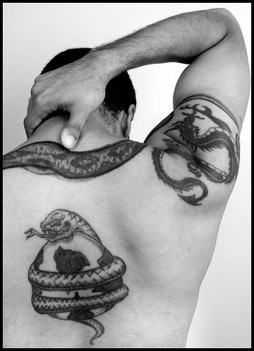 Tatuaggio incantevole sul corpo i serpento
