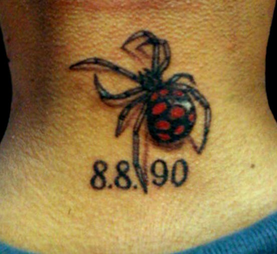 Black and red spider realistic tattoo
