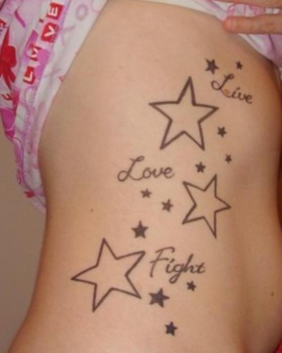 Tattooed on ribs, live, love, fight, stars