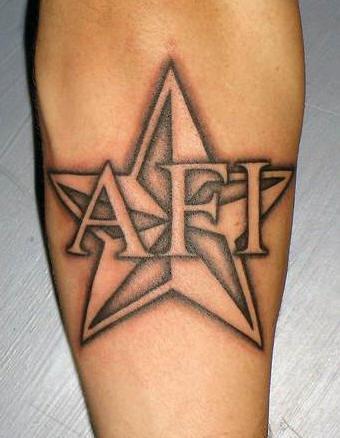 Star and brotherhood logo tattoo