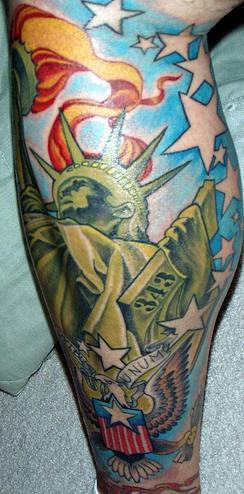 El Tatuaje Patriota De La Estatua De La Libertad Americana Hecho En