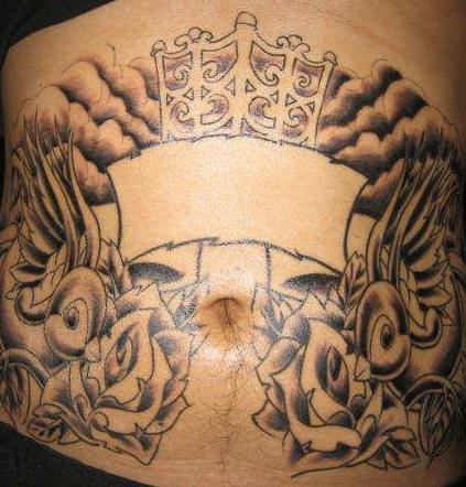 Stomach tattoo, symmetric, swallows above the  roses,cloudy sky