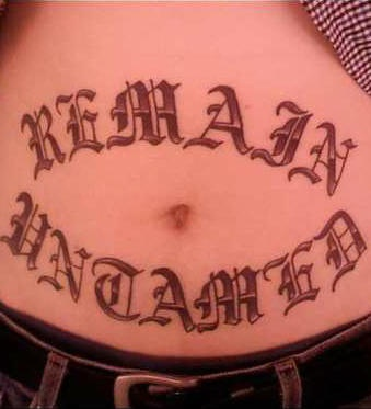 Stomach tattoo, remain, big letters, styled  inscription