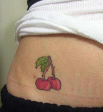 Stomach tattoo, two,colourful, juicy cherries