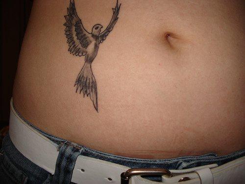 Tatuaggio non colorato sulla pancia l&quotuccello che volo