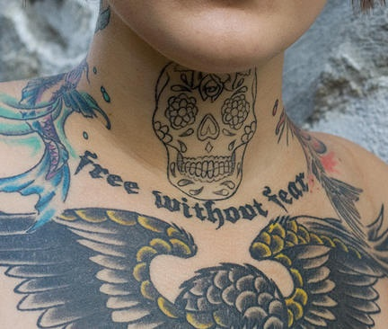 Sugar skull free without fear tattoo