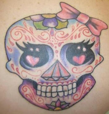 Girly sugar skull tattoo