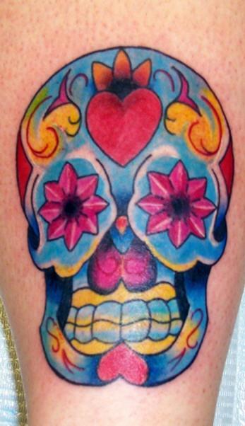 Crystal sugar skull tattoo in colour