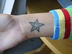 Black line star tattoo on wrist