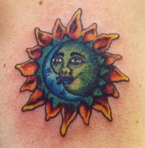 Simple sun and moon tattoo in colour