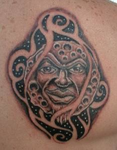 Angry humanized full moon tattoo