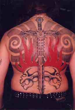Sword and skull in flames tattoo
