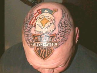 Harley davidson logo tattoo on head