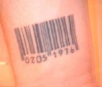Black ink barcode tattoo